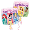 Quadratischer Folienballon Disney Prinzessinnen \´´Happy Birthday\´´, 32cm x 32cm