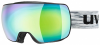 uvex Compact Fullmirror Skibrille (Farbe: 2130 black mat, mirror green/clear)