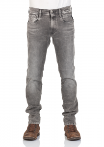 Replay Herren Jeans Anbass - Slim Fit - Grau - Grey Denim - Hyperflex