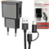 D-Parts Reise Lader Fast Charge 3 USB 18W schw inkl. Micro USB-C 1,2m