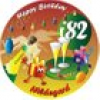 Tortenaufleger Happy Birthday Party mit Name und Alter – rund