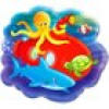 Unterwasser-Party Snack-Tablett, 23cm, Melamin, Kindertablett Meerestiere Fische