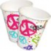 Girls Rock Partybecher mit Peace-Symbolen im 8er Pack, 266ml, Pappe